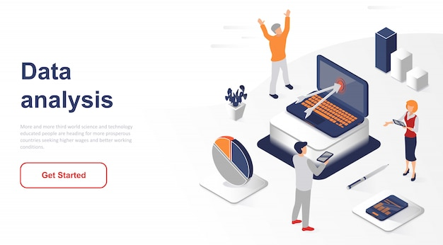 Isometric landing page data analysis or analytics Premium Vector