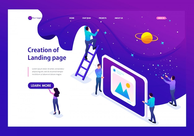 Isometric landing page of development and creation of a website, little men. Premium Vector