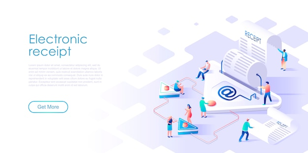 Isometric landing page electronic receipt or invoice flat concept Premium Vector