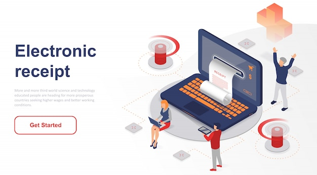 Isometric landing page electronic receipt or invoice Premium Vector