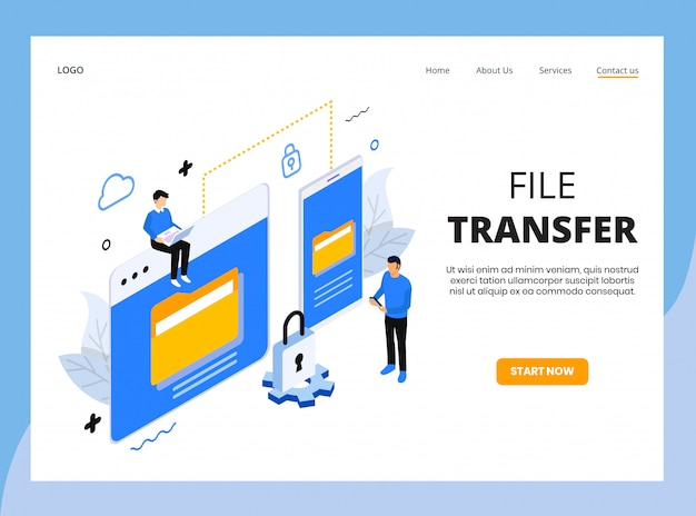 Isometric landing page of file transfer Premium Vector