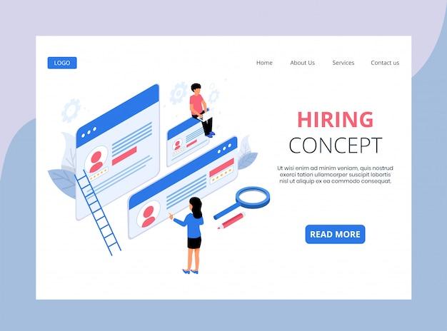 Isometric landing page of hiring and recruitment Premium Vector