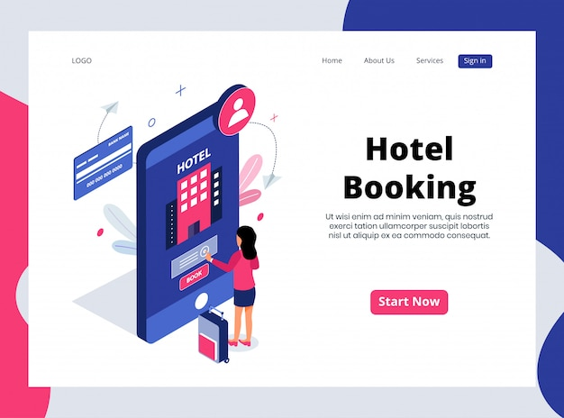 Isometric landing page of hotel booking Premium Vector