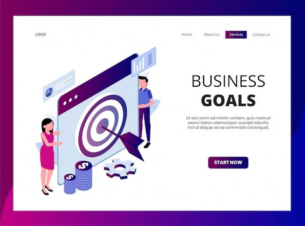 ビジネス目標の等尺性ランディングページ Premiumベクター