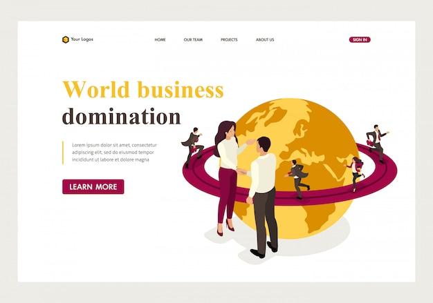 世界のビジネス支配、大企業契約の等尺性ランディングページ。 Premiumベクター