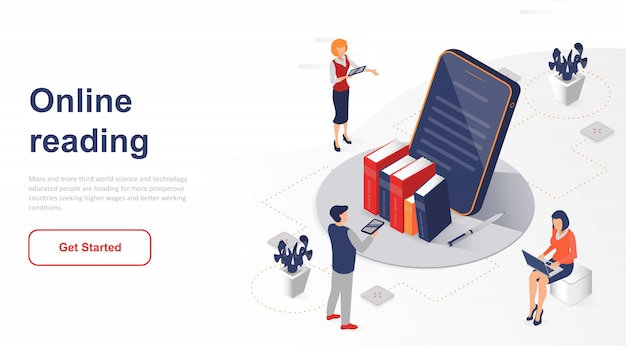 Isometric landing page online reading or e-book Premium Vector