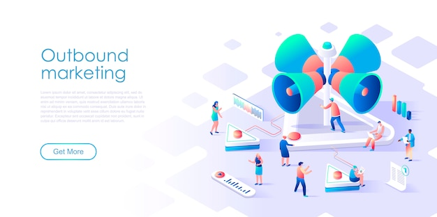Isometric landing page outbound marketing or advertising flat concept Premium Vector