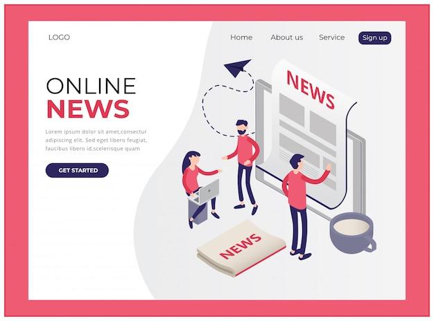 オンラインニュースを表示する等尺性ランディングページ Premiumベクター