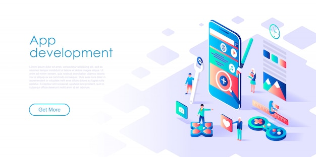Isometric landing page template app development Premium Vector