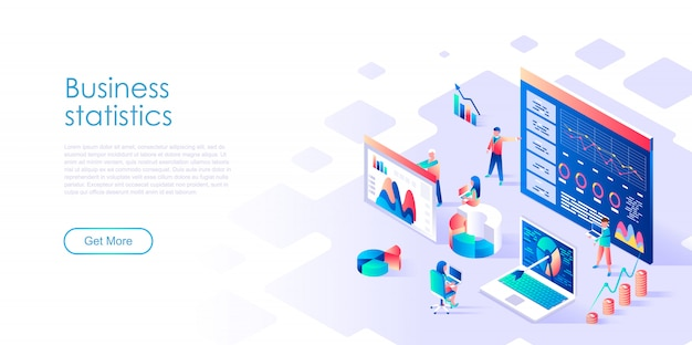 Isometric landing page template business statistic Premium Vector