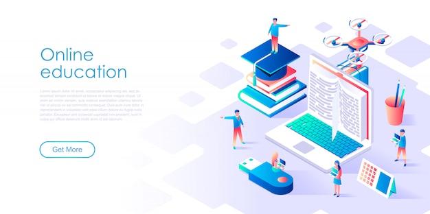Isometric landing page template online education Premium Vector