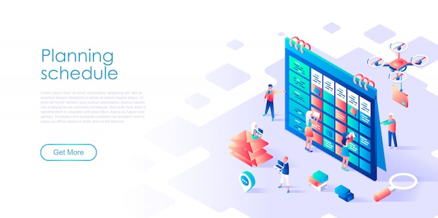 Isometric landing page template planning schedule Premium Vector