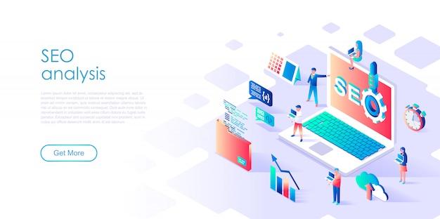 Isometric landing page template seo analysis Premium Vector