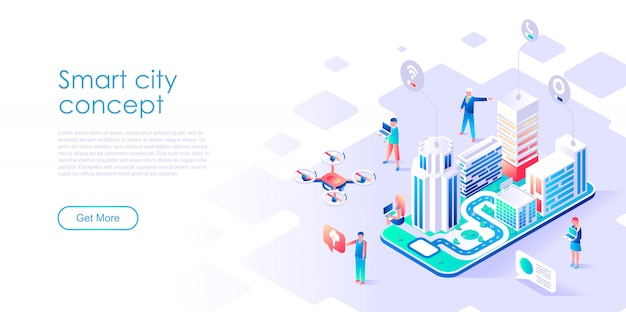 Isometric landing page template smart city Premium Vector