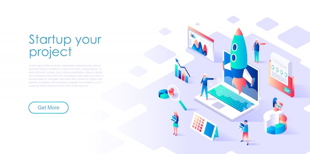 Isometric landing page template startup your project Premium Vector