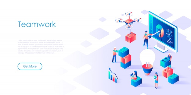 Isometric landing page template teamwork Premium Vector