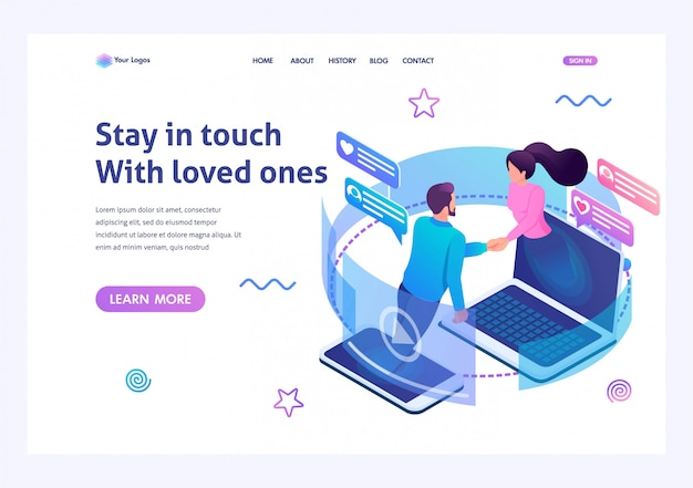 Isometric landing page   on the theme stay always in touch with your loved ones. Premium Vector