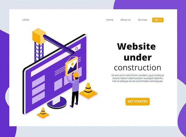 Isometric landing page of website under construction template premium Premium Vector