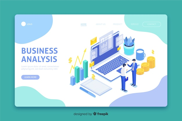 Isometric landing page with business analysis Free Vector