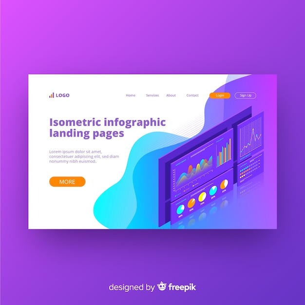 Isometric landing page Free Vector