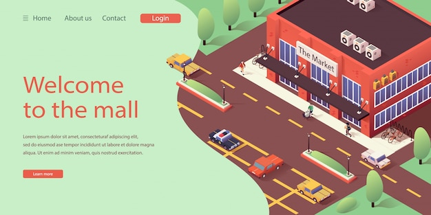 Isometric landing website online shopping mall Premium Vector