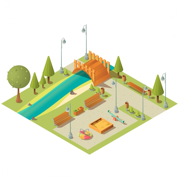 Isometric landscape of city park with playground Free Vector