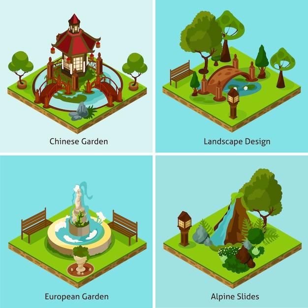 Isometric landscape design concept Premium Vector