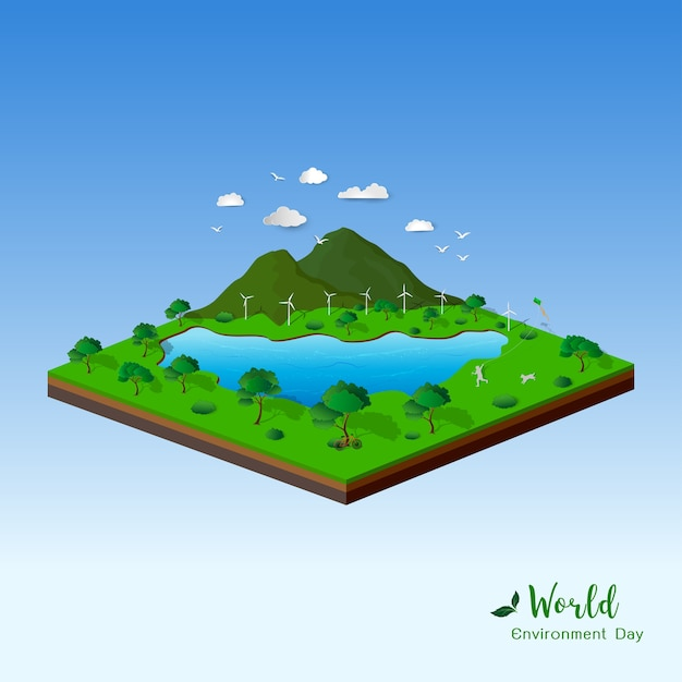 Isometric landscape with nature and eco friendly Premium Vector