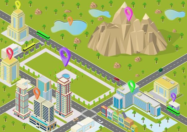 都市の建物と山と等尺性の風景 Premiumベクター