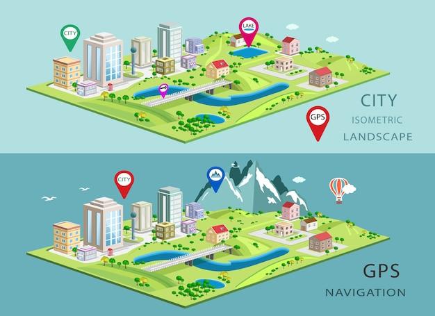 都市の建物、湖、山の等尺性の風景 Premiumベクター