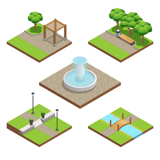 Isometric landscaping composition set with plants and wood and stone decoration elements Free Vector