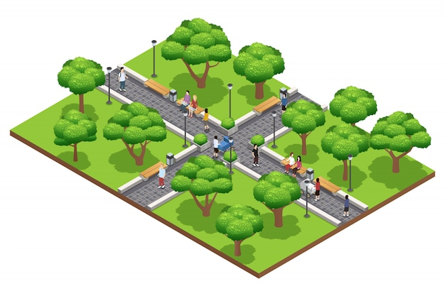 Isometric landscaping composition with people walking in green park in summer on white background ve Free Vector