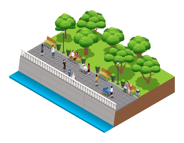 Isometric landscaping composition with people walking on stone embarkment in summer vector illustrat Free Vector