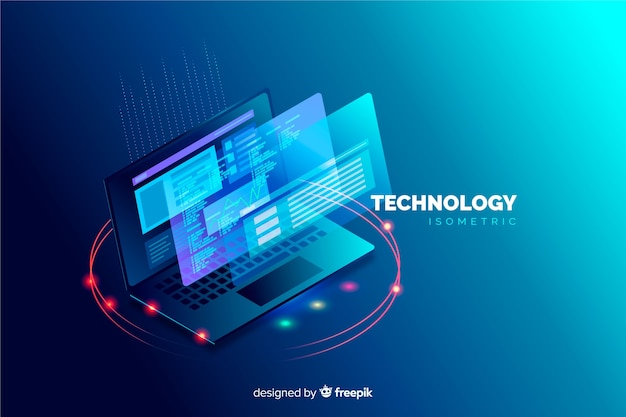 Isometric laptop background template Free Vector