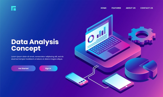 Isometric laptop server connected with smartphone, tablet and infographic pie chart for data analysis and management website or landing page design. Premium Vector