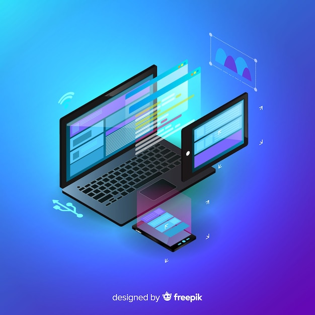 Isometric laptop technology background Free Vector