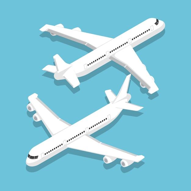 Isometric large passenger airplane Premium Vector