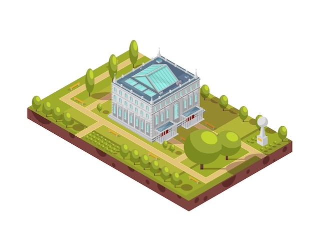 Isometric layout of classic university building with glass roof, green park and monument 3d vector illustration Premium Vector