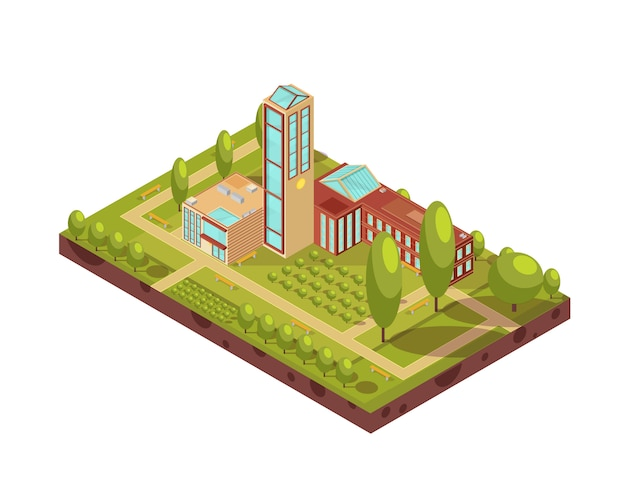 Isometric layout of modern university building with glass tower green trees walkways with benches 3d vector illustration Premium Vector