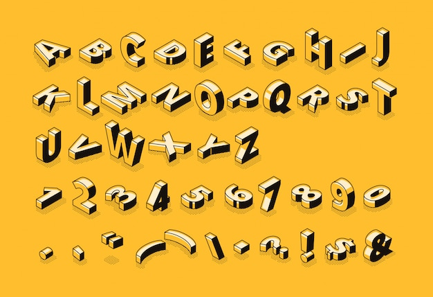 Isometric letters halftone font illustration of thin line cartoon abstract alphabet typography Free Vector