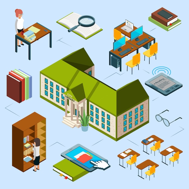 Isometric library concept. 3d public library building, computer area, e-reading books, librarians, bookshelf Premium Vector