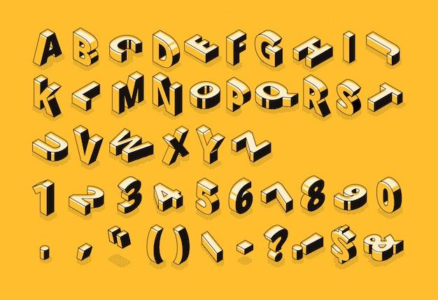 아이소 메트릭 선 글꼴 및 하프 톤 알파벳 문자 무료 벡터