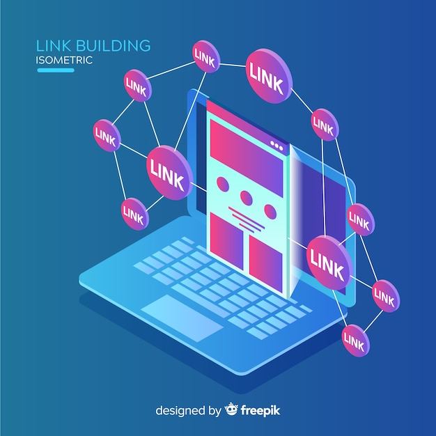 Isometric link building background Free Vector