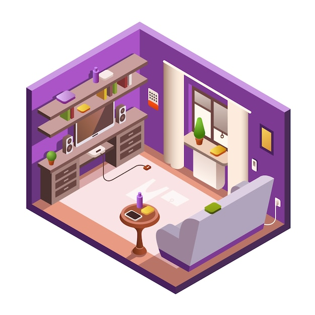 Cozy Living Room Vector Illustration: Isometric Living Room Interior Section. Cozy Modern 3d