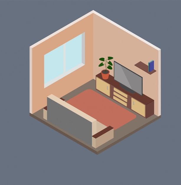 Isometric living room Premium Vector