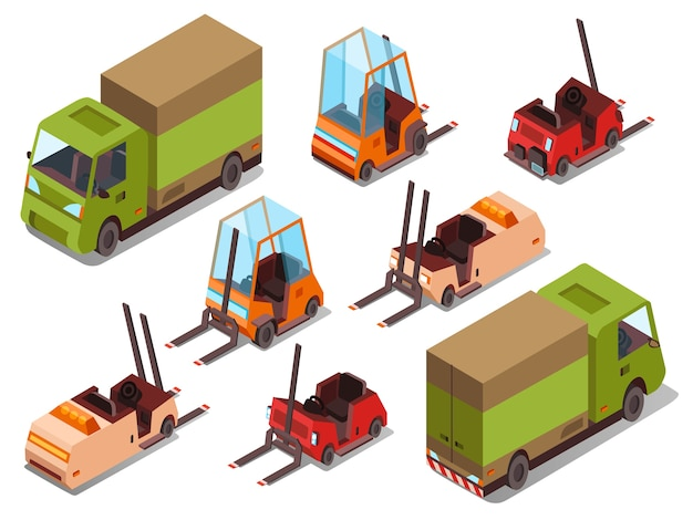 Isometric loader trucks isolated icons of\ warehouse forklift trucks and logistics