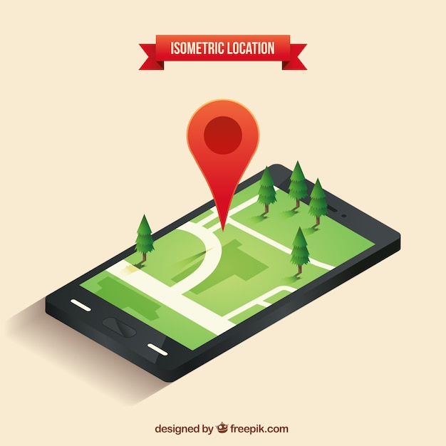 Isometric location with a red pointer and trees Free Vector