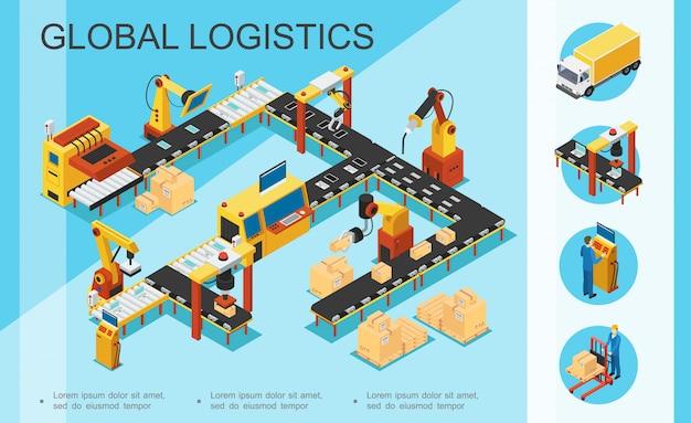 等尺性ロジスティクスと倉庫構成、組立および包装ラインボックスロボットアームトラックオペレーターストレージワーカー 無料ベクター