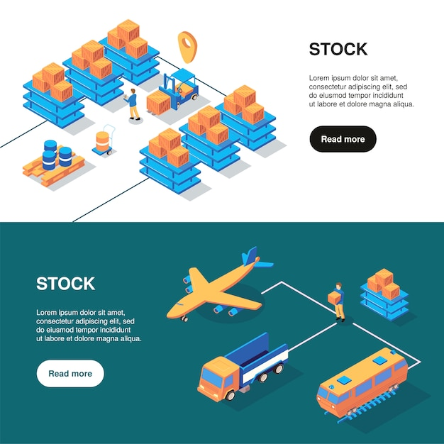 Isometric logistics banners set with text more button and storage facilities with different kinds of transport vector illustration Free Vector