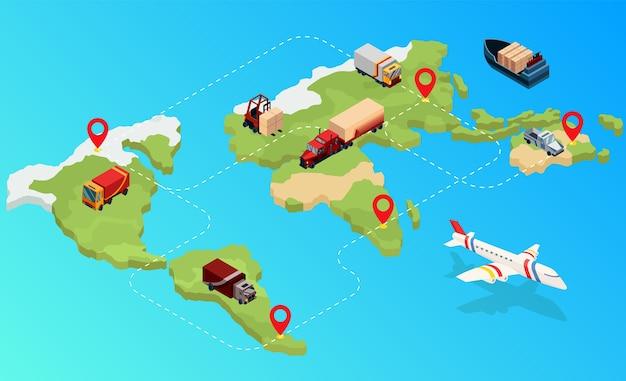 Isometric logistics. global isometric logistics network on map. international company worldwide operations with cargo distribution shipment and transportations Premium Vector